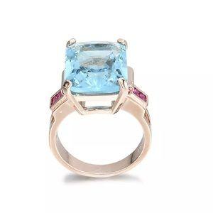 8 ct Large Blue Topaz Ruby baguette Rose Gold Ring